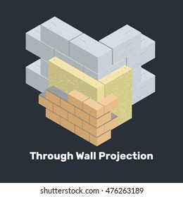 Through Wall Projection. Vector isolated illustration of isometric wall. External brickwork. How to build a brick wall on the front.