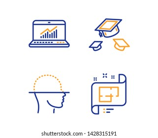 Throw hats, Face scanning and Online statistics icons simple set. Architectural plan sign. College graduation, Faces detection, Computer data. Technical project. Science set. Linear throw hats icon