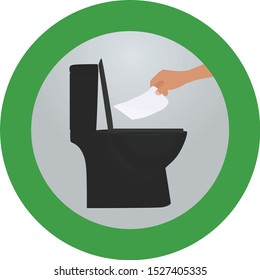 Throw paper to toilette sign. vector illustration