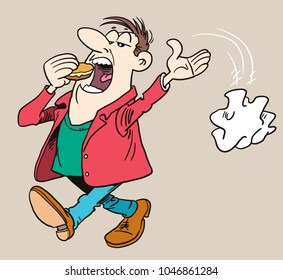 Throwing paper on the street. Cartoon vector illustration of a boy littering.