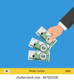 Throwing three won. South Korean won banknote.