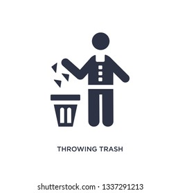 throwing trash isolated icon. Simple element illustration from behavior concept. throwing trash editable logo symbol design on white background. Can be use for web and mobile.
