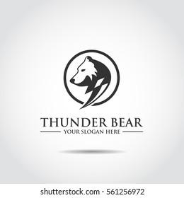 Thuder Bear Logo Template. Vector Illustrator Eps.10