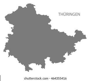 Thueringen Germany Map grey
