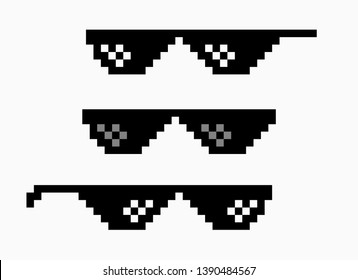 Thug life meme pixel glasses icon. Sunglasses hip hop joke icon prank thug life.