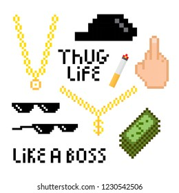 Thug life style pixel set with golden chain, black glasses, finger, money, hat and cigarette.  Vector illustration for your graphic design.