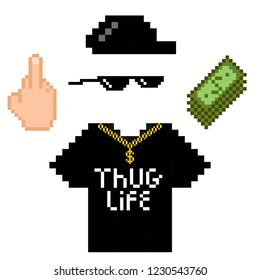 Thug life style pixel set with golden chain, black glasses and t-shirt, finger, money and hat isolated on white background. Vector illustration for your graphic design.
