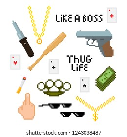 Thug life style pixel set with golden chain, black glasses, gun, baseball bat, finger, money, hat and cigarette.  Vector illustration for your graphic design.