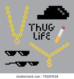 Thug life style pixel set with golden chain, black glasses, hat and cigarette.  Vector illustration for your graphic design.