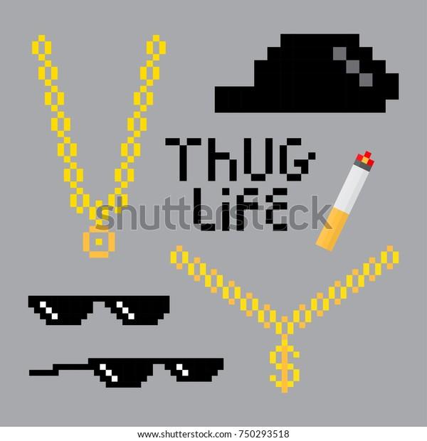 Thug Life Style Pixel Set Golden Stock Vector (Royalty Free
