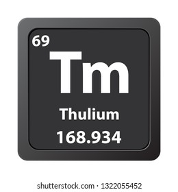 Thulium  chemical element icon. The chemical element of the periodic table. Sign with atomic number.