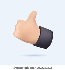 Thumb up 3D icon. Vector like and love icon. Ready like and love button for website and mobile app. Hand like icon vector for web, computer and mobile app. Notification 3D illustration free to use.