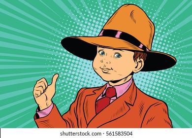 thumb up boy in a big hat. Pop art retro vector illustration