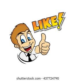 thumb up cartoon character theme vector art illustration