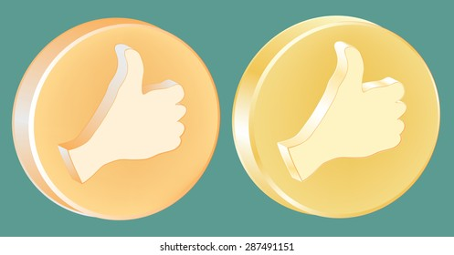 Thumb up and Thumb down button (medal), gold, 3d vector