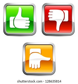 Thumb up and down buttons - vector illustration