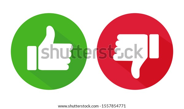 Thumb up and thumb down flat icon. Vector illustration