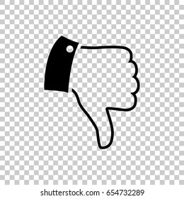 Thumb down icon isolated on transparent background. Black symbol for your design. Vector illustration, easy to edit.