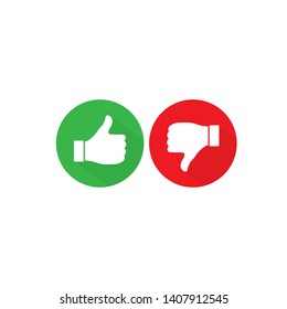 Thumb up and thumb down icon. Like and dislike. Vector illustration isolated on white background