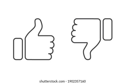Thumb Up and Thumb Down icon. Like and dislike icons set isolated on white background. Flat design outline thin line. Vector illustration.