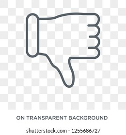 Thumb down icon. Trendy flat vector Thumb down icon on transparent background from Hands and guestures collection. High quality filled Thumb down symbol use for web and mobile