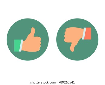 Thumb up and down icons set. Like and dislike. Simple buttons with user feedback for social network, mobile app. Vector illustration round icons in a flat style isolated on white background.
