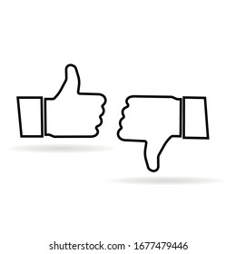 Thumb up and thumb down. Like and dislike icon. Black colour thumb up. Vector illustration line icon