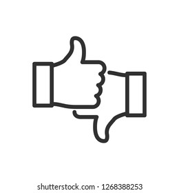 thumb up and thumb down. linear icon. Line with editable stroke