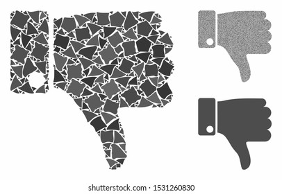 Thumb down mosaic of irregular items in various sizes and color hues, based on thumb down icon. Vector ragged items are united into mosaic. Thumb down icons collage with dotted pattern.