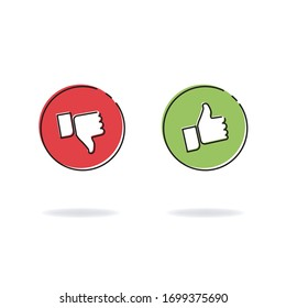 Thumb up and down, positive and negative rating icons