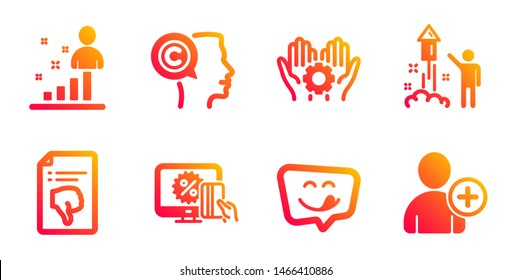 Thumb down, Yummy smile and Employee hand line icons set. Stats, Fireworks and Online shopping signs. Writer, Add user symbols. Decline file, Emoticon. People set. Vector