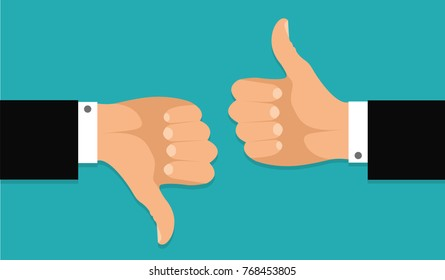 Thumb up and thumb down.Stock vector
