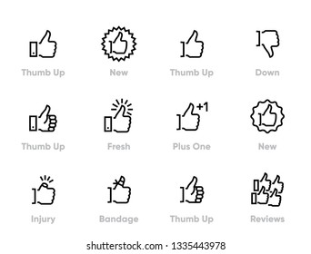 Thumb Up Editable Line Icons Set.
