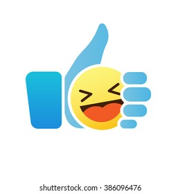 Thumb up emoticon, blue like icon with smiley emoji, vector illustration.
