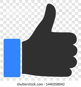 Thumb up EPS vector pictograph. Illustration contains flat thumb up iconic symbol on a chess transparent background.