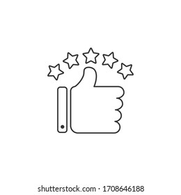 Thumb up with five star for review concept. Icon design linear style. Vector illustration.