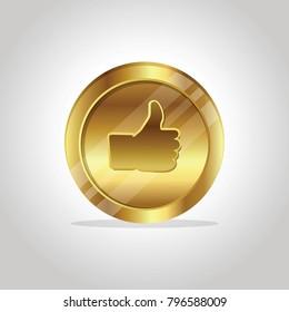 Thumb Up golden coin.