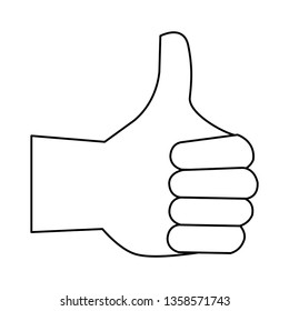 thumb up hand cartoon symbol in black and white