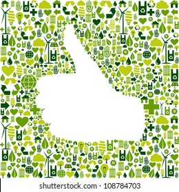 Thumb up hand over Go green icons texture background  Vector file layered for easy manipulation and custom coloring