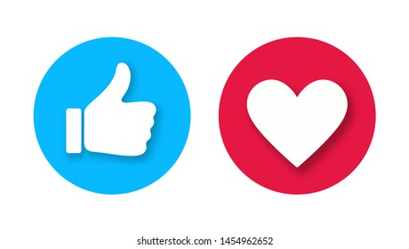 Thumb up and heart icon with falling shadows isolated on white background. Vector like and love icon. Ready like and love button for website and mobile app.