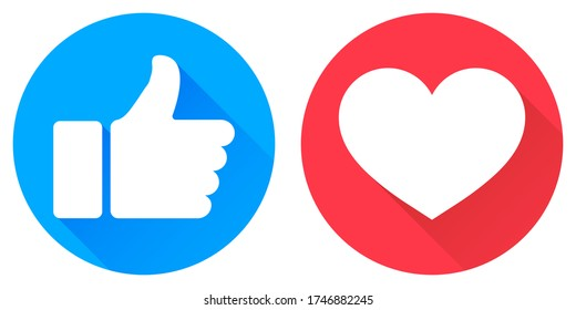 Thumb up and heart icon. Vector like and love icon. Ready like and love button for website and mobile app
