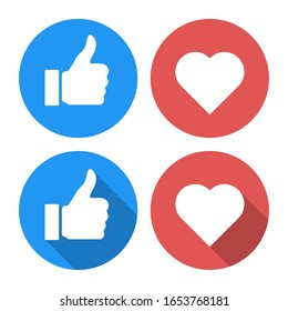 thumb up and heart like isolated icons vector