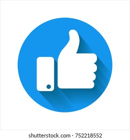Thumb up icon, blue vector logo. Circle isolated like symbol.