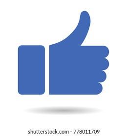 Thumb up icon, blue vector logo. Thumb  isolated like symbol. social media icon