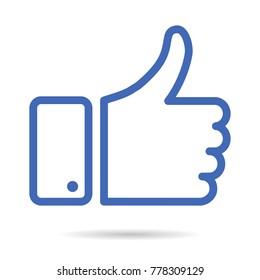 Thumb up icon, blue vector logo. Thumb up isolated like symbol.