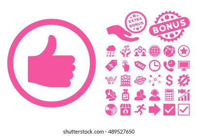 Thumb Up icon with bonus design elements. Vector illustration style is flat iconic symbols, pink color, white background.