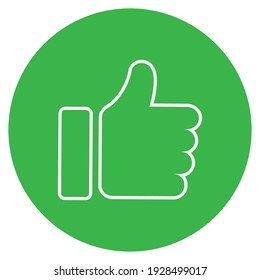Thumb up icon. Green like symbol. Positive choice. Outline ok icon. Vote symbol. Thumb up in round circle