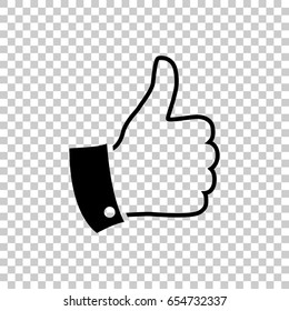 Thumb up icon isolated on transparent background. Black symbol for your design. Vector illustration, easy to edit.