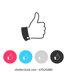 Thumb up icon isolated on white background. Button with symbol for your design. Vector illustration, easy to edit.