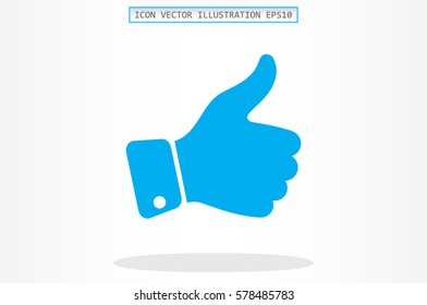 thumb up icon vector illustration eps10. Isolated badges for website or app - stock infographics.